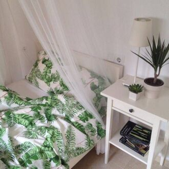 home accessory white green leaves leafs bedding white bedding tumblr bedroom bedroom