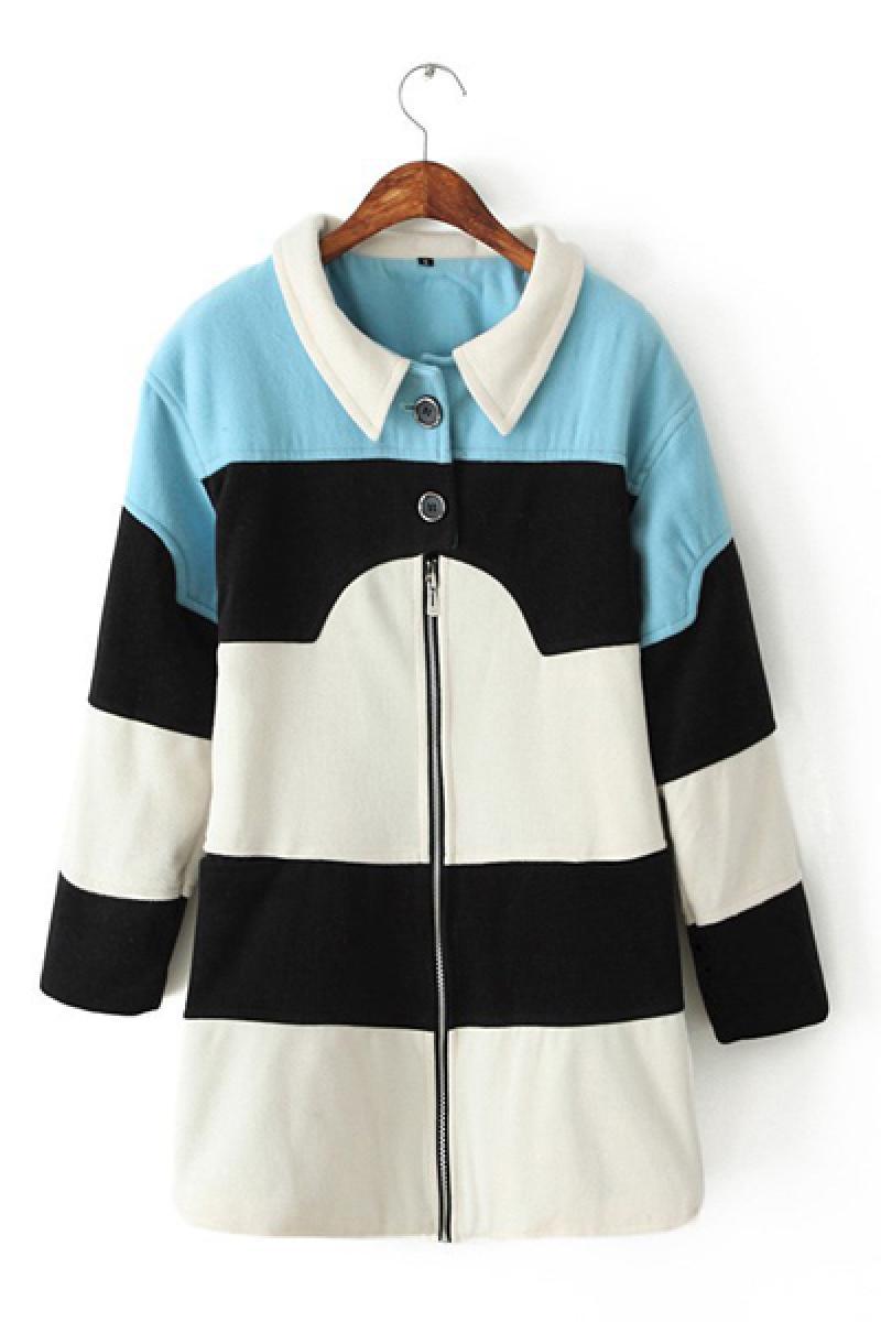 Fringe Contrast Color Lapel Woolen Overcoat ,Cheap in Wendybox.com