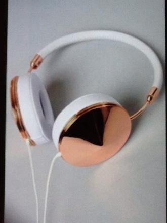earphones rose gold white headphones style beautiful cool stud