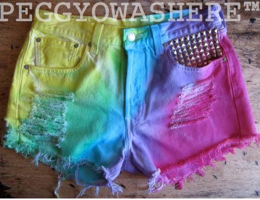 Vtg 1980's Levi's 501XX Rainbow tie dye silver door PEGGYOWASHERE