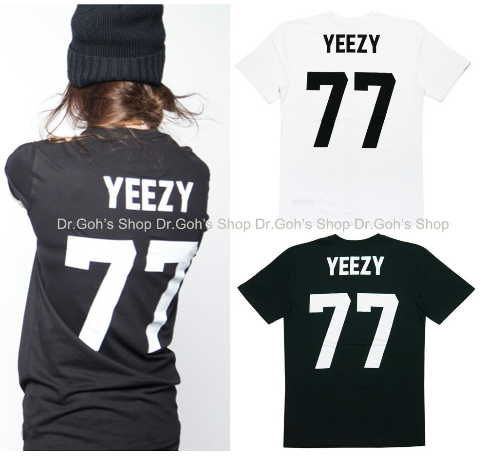 New Yeezy 77 Football T Shirt Black White Celebrity ASAP Tisci Les Artist Inspir | eBay