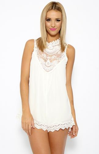 This and That Playsuit - White | Back In Stock | Clothes | Peppermayo