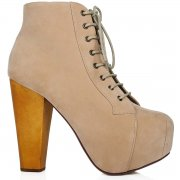 Ashley Lace Up Wooden Block Heel Concealed Platform Ankle Boots - Nude -  from Spy Love Buy UK