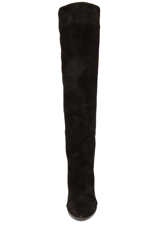 Isabel Marant|Prescott Calfskin Velvet Leather Boots in Black