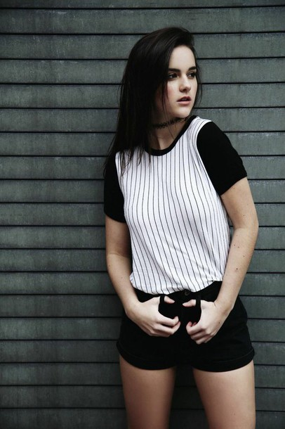 shirt black and white striped tee natalie joy
