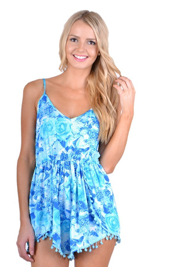dress bright blue sky blue blue floral print pom pom pom pom playsuit romper romper roses