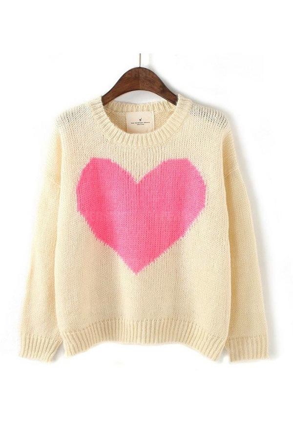 Sweet Heart Pattern Loose Sweater In Beige [FKBJ10443] - PersunMall.com