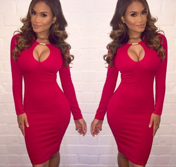 dress red dress cut-out dress gold bodycon dress midi dress long sleeve dress