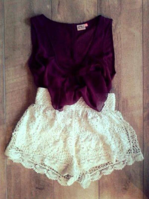 blouse lila hot pants shorts