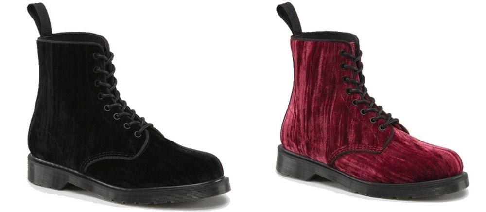 Dr Doc Martens Unisex Marvel 1460 Crushed Velvet Luxury Gothic Boots 8 Eyelet | eBay