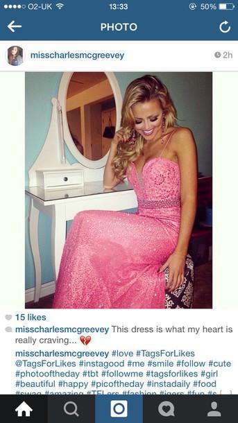 dress pink dress sparkle ball gown dress