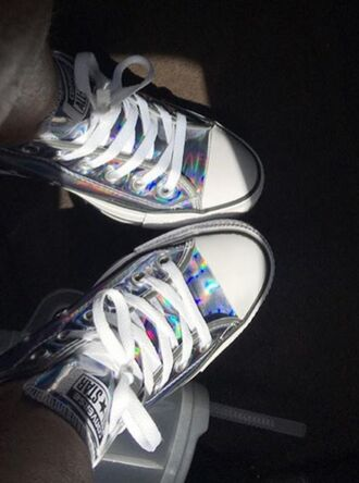 shoes vibrant dramatic holographic shoes hologram sneakers converse chuck taylor all stars white holographic girls sneakers cute shoes sneakers low top sneakers cool summer flashes of style stylish very vibrant
