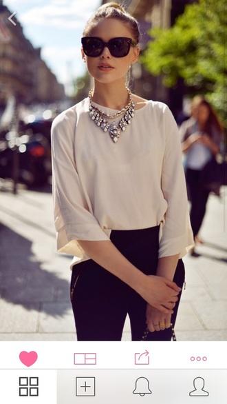 sunglasses recreate audrey jewels statement necklace necklace audrey hepburn classy classic style vogue fashion blogger blouse