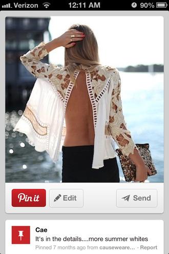 shirt split back long sleeves sheer shirt blouse white open back lace top