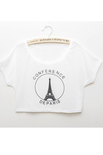 Eiffel Tower Short T-shirt [FCBI00166]- US$14.99 - PersunMall.com