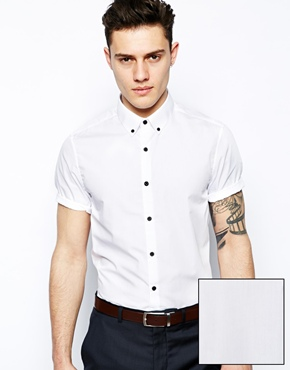 ASOS   ASOS Smart Shirt In Short Sleeve With Button Down Collar And Contrast Buttons at ASOS