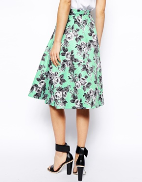 ASOS | ASOS Quilted Midi Skirt In Floral Print at ASOS