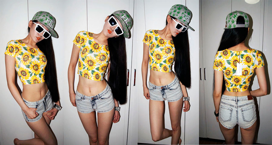 Wholesale New Hot Womans Lady Women Short Sleeve Sexy Belly Sunflower Print Bare midriff Crop Top Shirt girl Tops Tees-in T-Shirts from Apparel & Accessories on Aliexpress.com