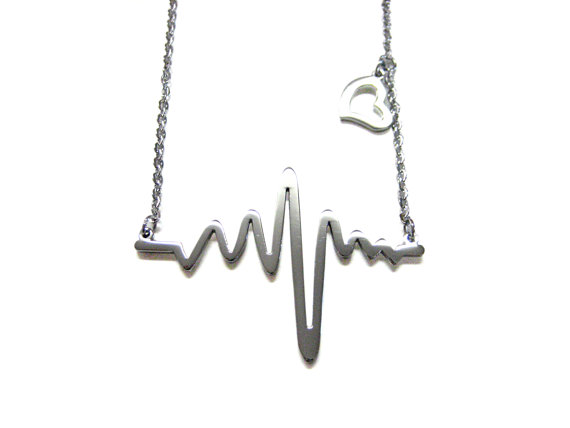 Silver Toned Heart Rhythm EKG Pendant Necklace by KiolaDesigns