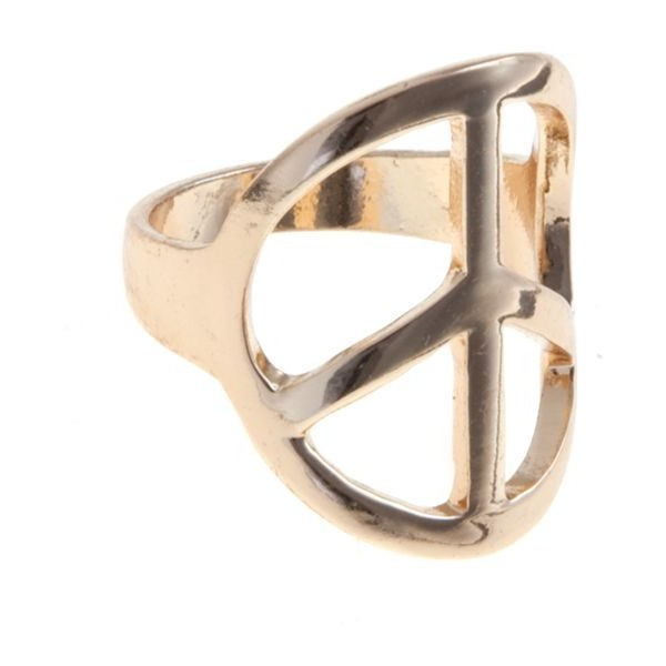 Gold Peace Symbol Ring - Polyvore