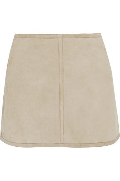 KAUFMANFRANCO|Suede and linen mini skirt|NET-A-PORTER.COM