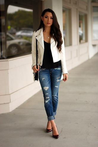 hapa time jacket jewels t-shirt bag shoes white jacket perfecto