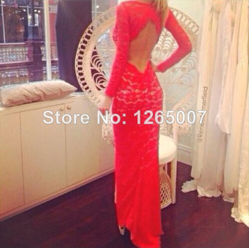 Aliexpress.com : Buy New Arrival Gorgeous Boat Neck Open Back A Line Red Lace Nude Lining Long Sleeves Fashion Gowns Red Lace Cute Long Dress from Reliable dress rainbow suppliers on SFBridal