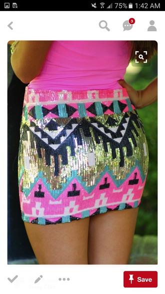skirt hot pink very vibrant vibrant pink teal black neon bright pattern short skirts