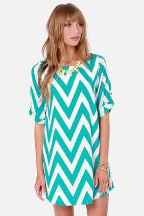 Cute Teal Dress - Shift Dress - Chevron Print Dress - $46.00