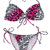 Hot Pink Black and White Animal Print String Bikini Size M | eBay
