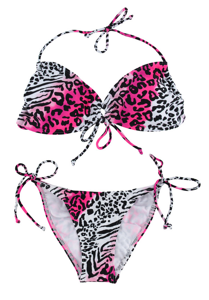 Hot Pink Black and White Animal Print String Bikini Size M | eBay