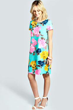 Laura Neon Floral Shift Dress at boohoo.com