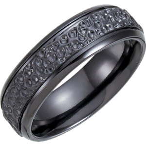 Black Titanium 7.5mm Grooved Hammered Band   C and J Jewelers