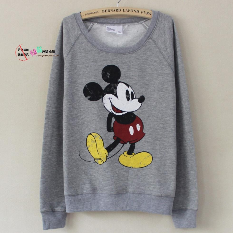 Free shipping  2013 new fall and winter Mickey cartoon logo gray long sleeved sweater female loose-in Hoodies & Sweatshirts from Apparel & Accessories on Aliexpress.com