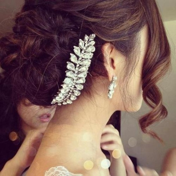 jewels hair bun wedding hair accessory wedding hairstyles hair adornments feathers jewelry silver diamond leaf hair piece (wedding) diamonds jewels strass hair clip wedding prom