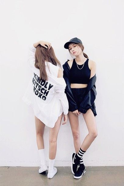 Jacket clothes tumblr girl kfashion asian nike crop tops wheretoget Pretty girl fashion style tumblr