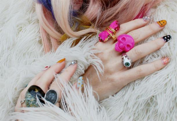 ring rock cute pink jewels jewels skull