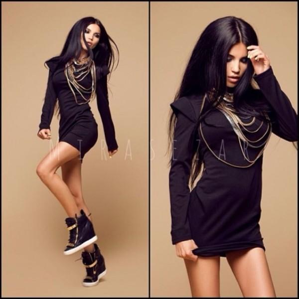 dress black dress gold chain swag swag platform sneakers mini dress shoes jewels