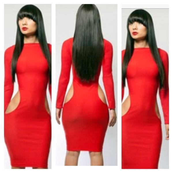 dress red dress cut out bodycon dress