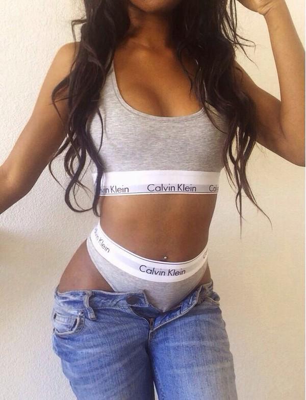 underwear black girls killin it two-piece hot body curly hair grey pants calvin klein gray underwear jeans