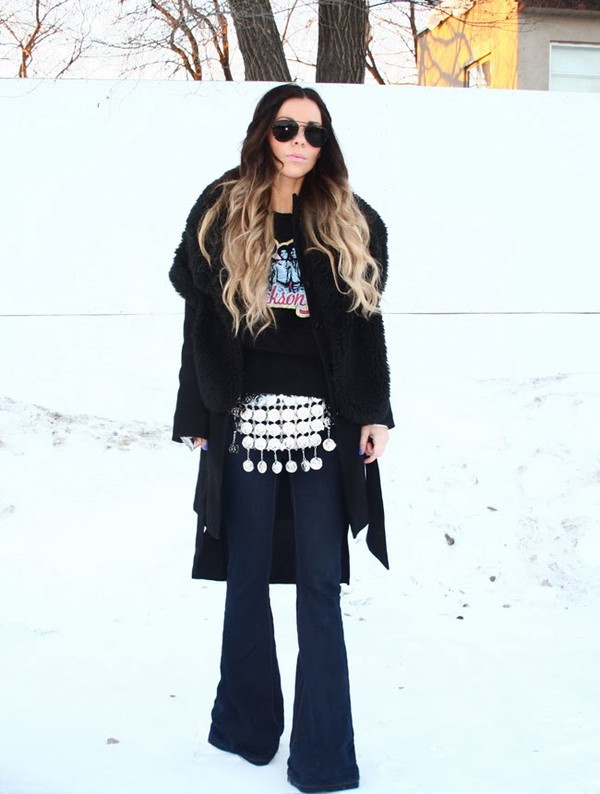 bewolf t-shirt coat sunglasses jeans belt