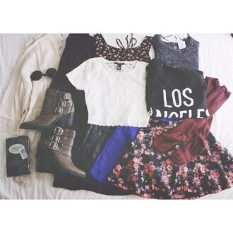 shirt skirt lace sweater t-shirt floral flowers shoes boots heels cardigan jacket white black pink blue brown pretty cute blue skirt buckles los angeles