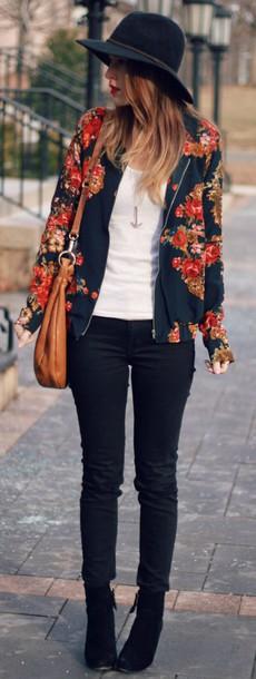 jacket colorful coat veste flowers