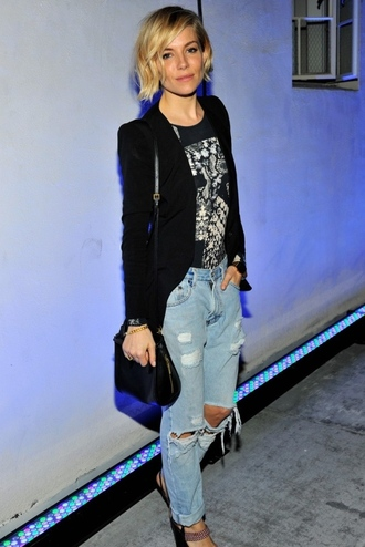 jacket ripped jeans sienna miller fall outfits