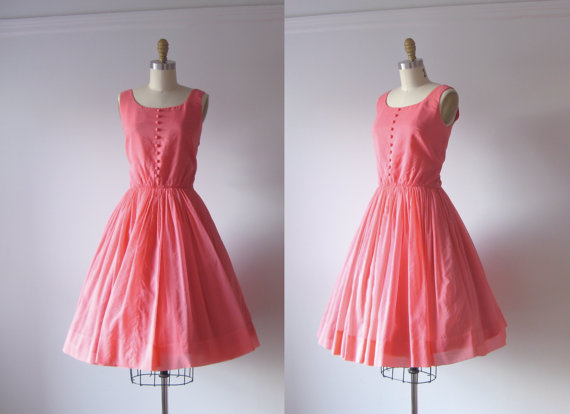 vintage 1950s dress / 50s party dress / Pink Soiree by Dronning