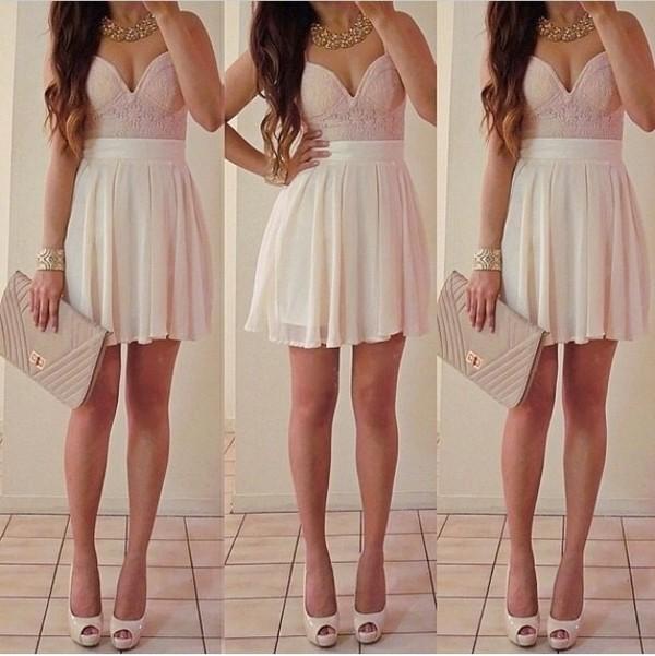 dress bag jewels pink skirt nude cute dress short dress shirt slit dress pastel high heels statement necklace