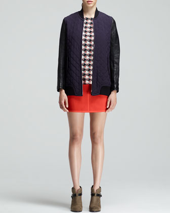 Rag & Bone Quilted Coated-Sleeve Jacket, Printed Leather-Trim Top & Snap-Pocket Short Skirt - Neiman Marcus