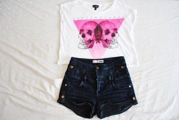 t-shirt outfit topshop shirt pink black white skull summer tumblr cute hot