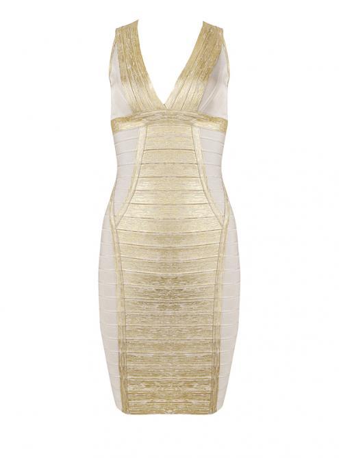 Apricot Metallic Deep V Bandage Dress H880$119