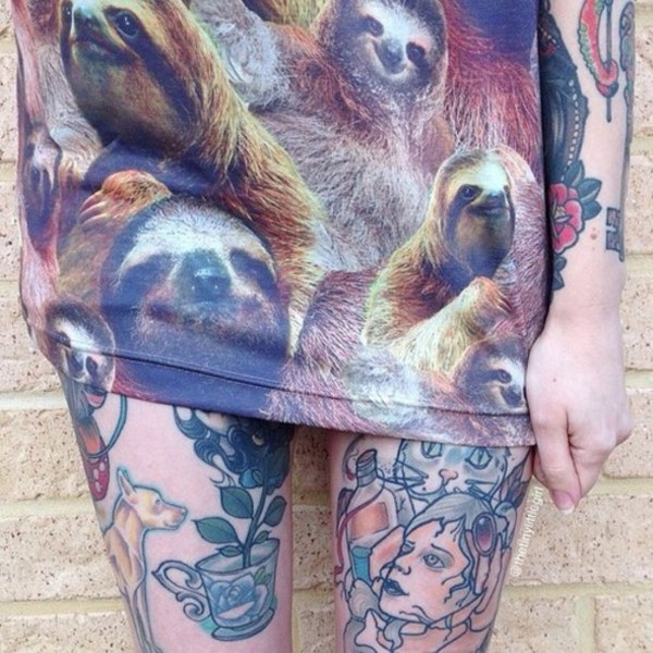 sloth animal pattern sweater cute hipster tattoo animal print fashion clothes girly girls hbo tumblr